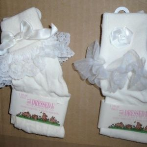 Vintage 2 Pairs Rose Bow White Lace Pageant Socks
